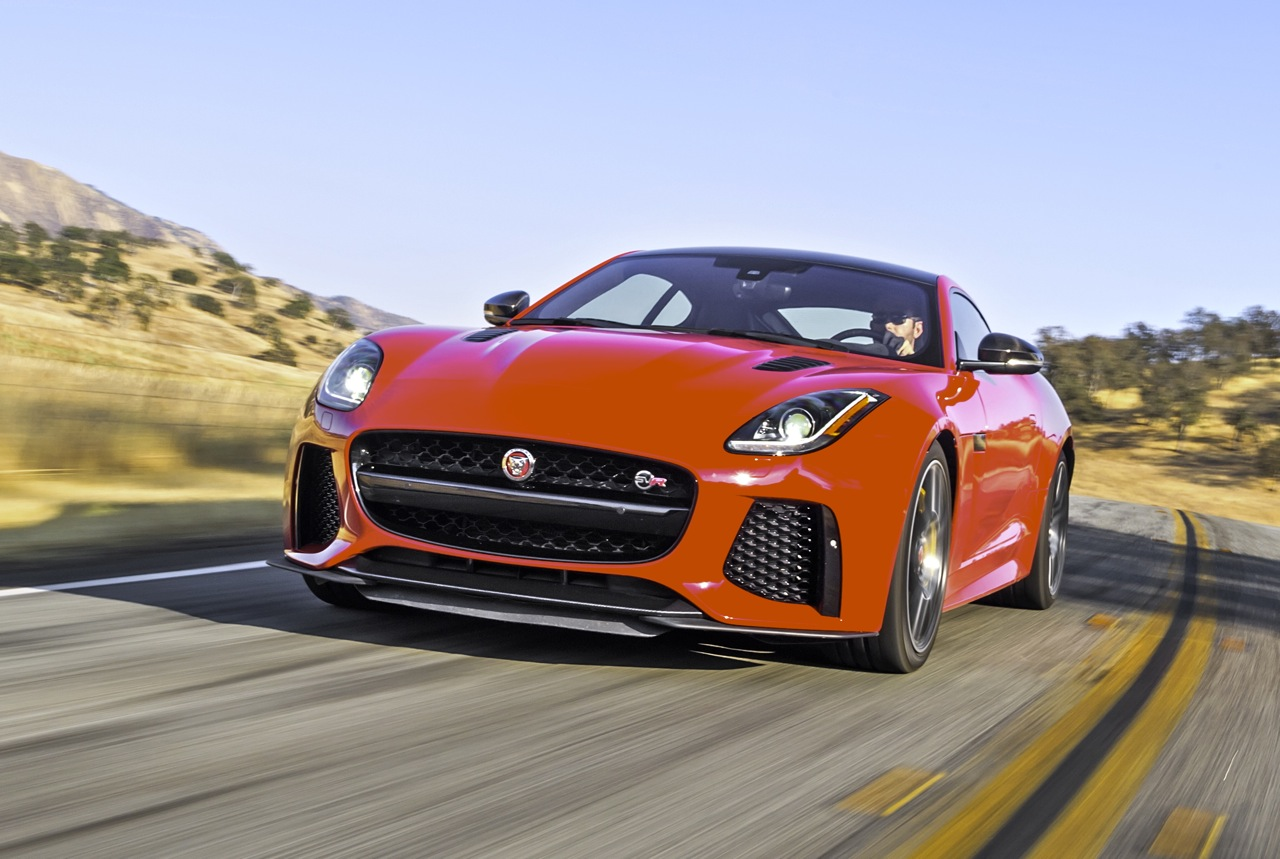 It S The Latest Supercharged Cat From Jaguar With A Tiger Under Its Alloy Bonnet And An Explosive Snarl Quad Exhaust Meet F Type Svr